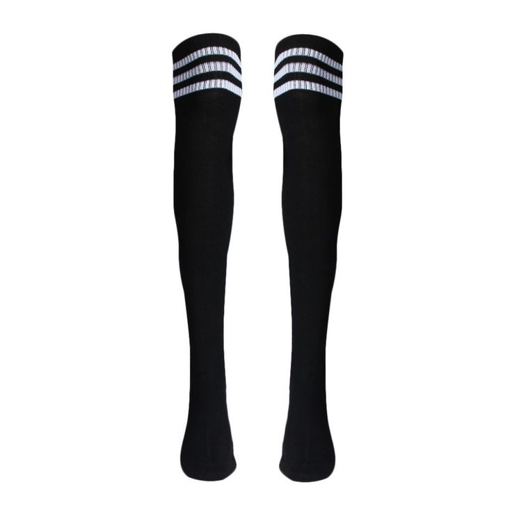 "Gotd Women'S Athlete Thigh High Stockings 3-Stripe Top Over Knee High Tube Socks (Black). Material:Acrylic Fibers. Size:approx 66cm/26.0"". One size fit most,stretchy. Very comfortable Stretch Fabric,a perfect gift to yourself or friends. Pls Note:Different computer have different monitor,the color may be a little difference."