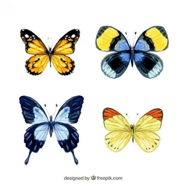 Free vector Watercolor butterflies #2231