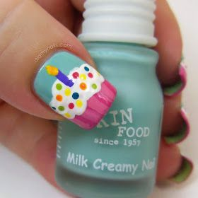 birthday cupcake nail art....ok this is too cute & perfect for young girl on her bday ! nails for girls! nails for girls
