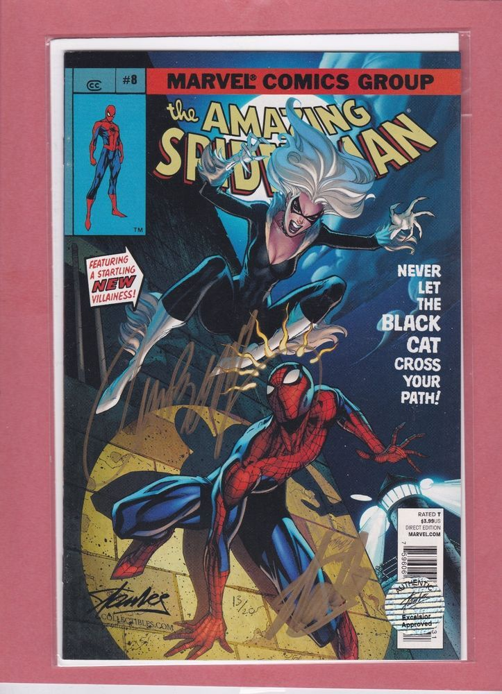 COMIKAZE 2014 AMAZING SPIDER-MAN #8 COMIC DOUBLE SIGNED STAN LEE & CAMPBELL