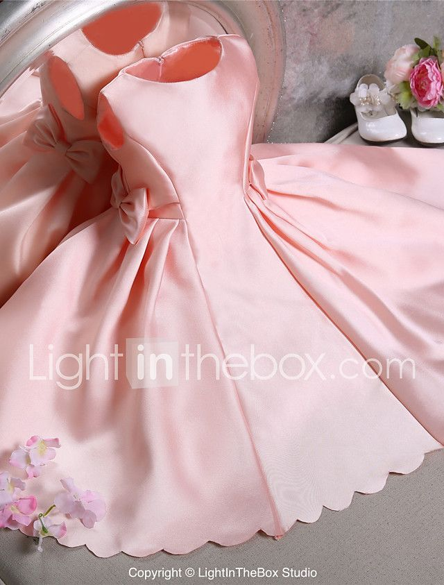 Ball Gown Knee-length Flower Girl Dress - Satin Sleeveless Jewel with 2017 - $69.99