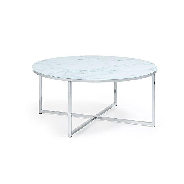 Table Basse Divid 80cm, verre effet marbre KAVEHOME