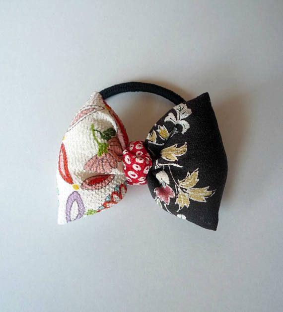 Hair Tie. Black Pink Flower Pattern Kimono Puff Ponytail Holder Puff  Ponytail 68f547a94da