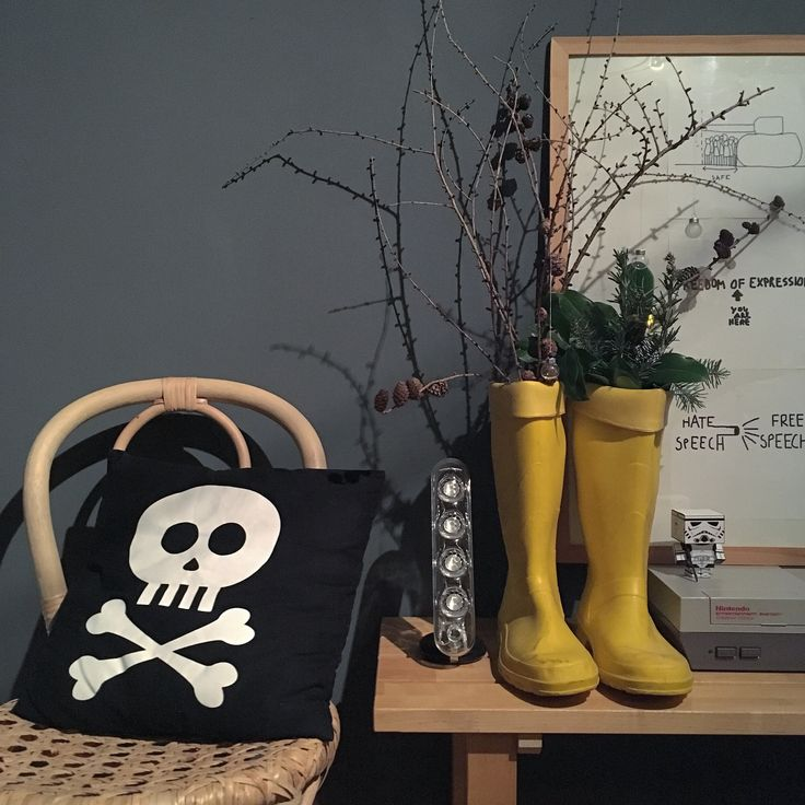 Festive decoration with yellow wellington boots