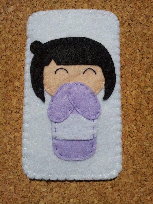 japon kızı eplikeli keçe telefon kılıfı modeli - 10marifet.org
