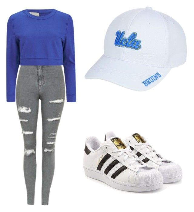 """""""Uvula football game outfit"""" by mikayla714 on Polyvore featuring Top of the World, Topshop, Lavish Alice and adidas Originals"""