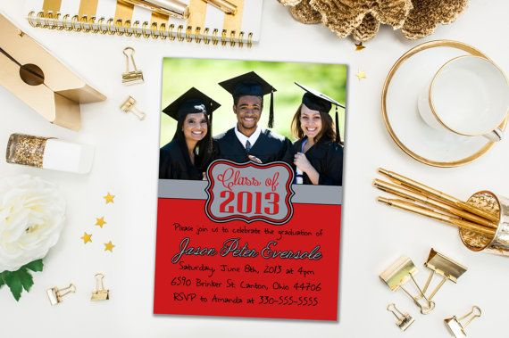 Graduation Party Invitations / School Colors, Colours, Photo / Party Invite for Graduate / Class of 2015, 2016 / Digital or Printed Cards