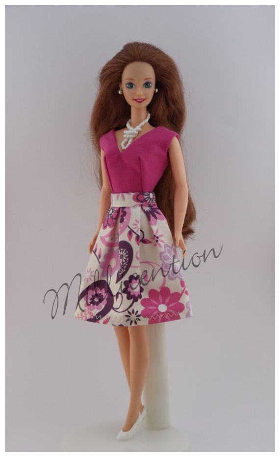 Pink and purple paisley Barbie doll top & skirt