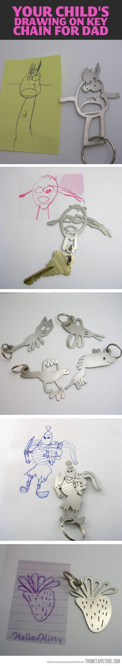 Kids' drawings made into keychains, charms, etc. ~ I don't have any kids, but thought this was cute