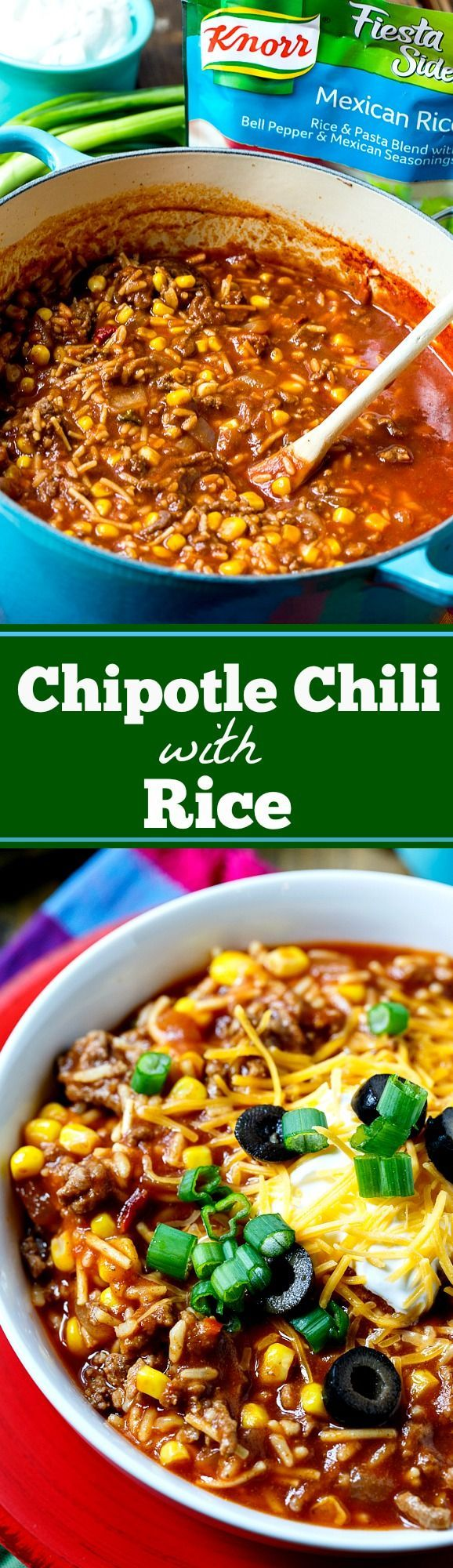 Chipotle Chili with Rice- ready in under 30 minutes with only 8 ingredients! A pouch of Knorr® rice adds so much flavor and makes it a really economical meal.