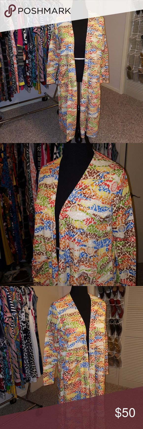 Lularoe Sarah Duster Fun colors, almost Asian or tribal inspired... Cream background. This was one of my Unicorns and when I found it finally I just didn't wear as much as I thought I would... Perfect condition Lularoe  Sweaters Cardigans