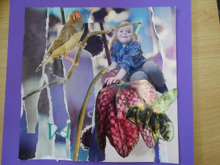 Collage met een foto van een kind.
