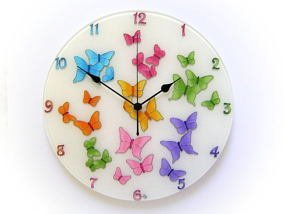 Butterfly Unique Wall Clock Butterfly Wall Art Colorful Large