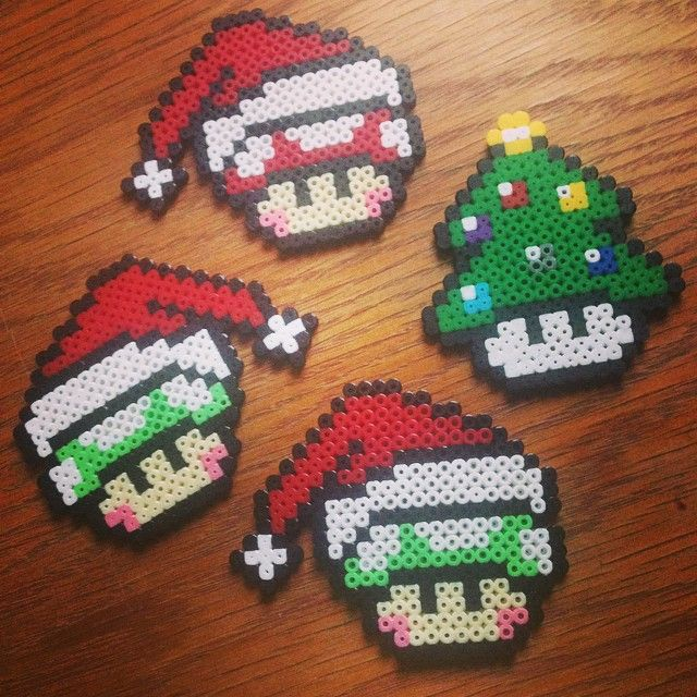 Christmas mushrooms perler beads by irmenirmen