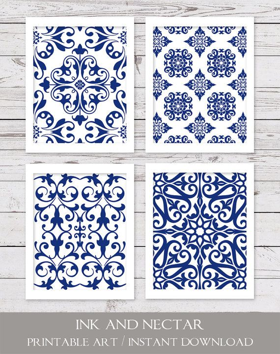 Blue and White Art PRINTABLE Art Set Blue by inkandnectardigital