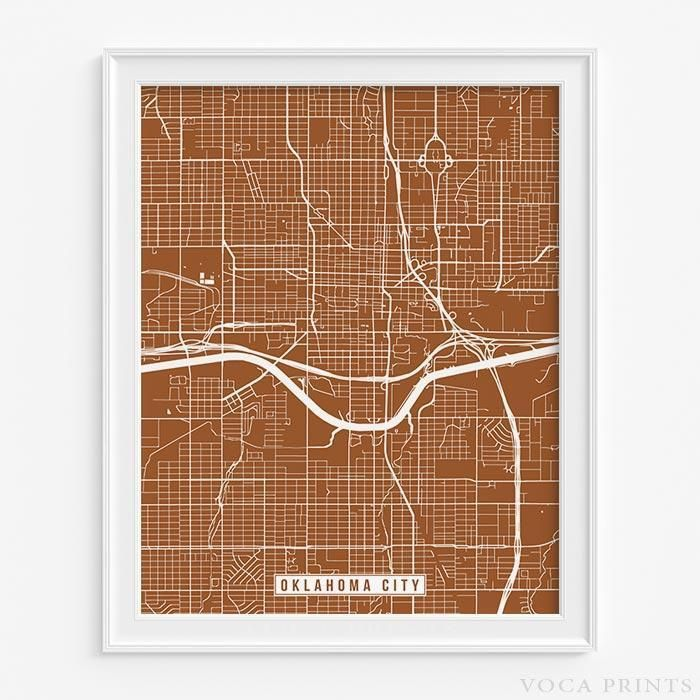 Kentucky County Map Editable%0A Oklahoma city  oklahoma street map print