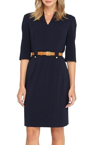 Beautiful silhouette -- V neck that's not too deep, structured shoulders, tapered at the waist -- everything I need!