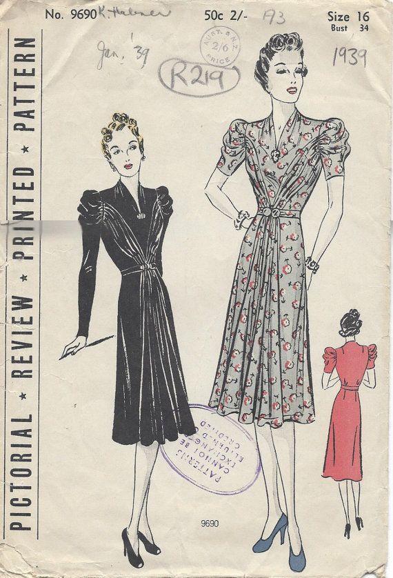 """1939 vintage naaien patroon B34 """"jurk (R219) picturale herziening 9690"""