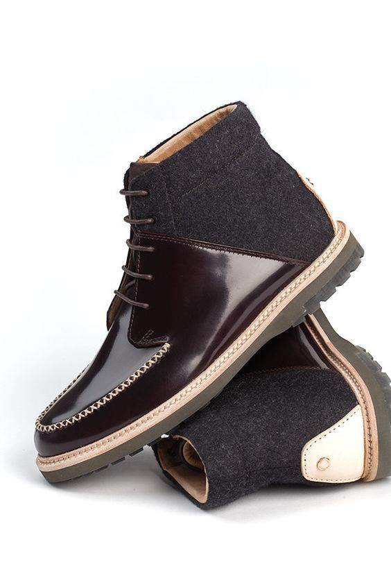 Wool and Leather Boot, by Thorocraft, Men's Fall Winter Fashion.: