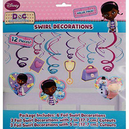 Doc McStuffins Hanging Foil Swirl Decorations (6 Piece) - Party Supplies Image 2 of 2