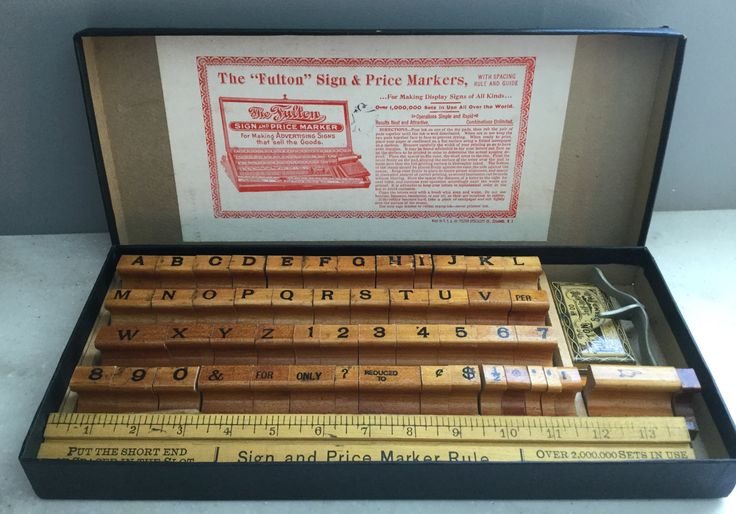 """The """"Fulton"""" Sign and Price Markers.  Letter and Number stamp collection from the 1900's. by LoveThisOldHouse on Etsy"""