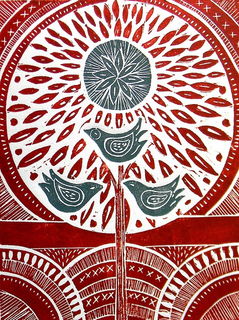 Three Birds- Red and Teal ink. by Mangle Prints, via Flickr