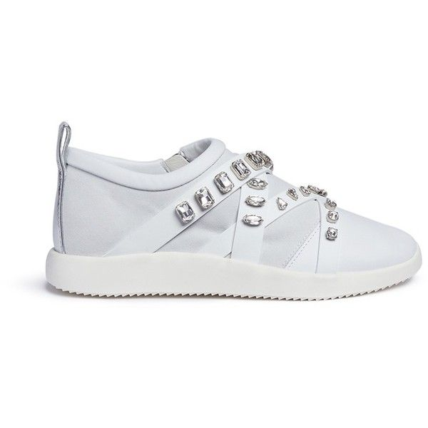 Giuseppe Zanotti Design 'Mistico' glass crystal leather and suede... ($955) ❤ liked on Polyvore featuring shoes, sneakers, white, giuseppe zanotti shoes, white leather sneakers, white trainers, giuseppe zanotti sneakers and special occasion shoes
