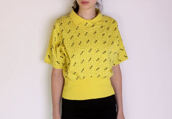 80's crop batwing blouse designer tshirt polo by WoodhouseStudios
