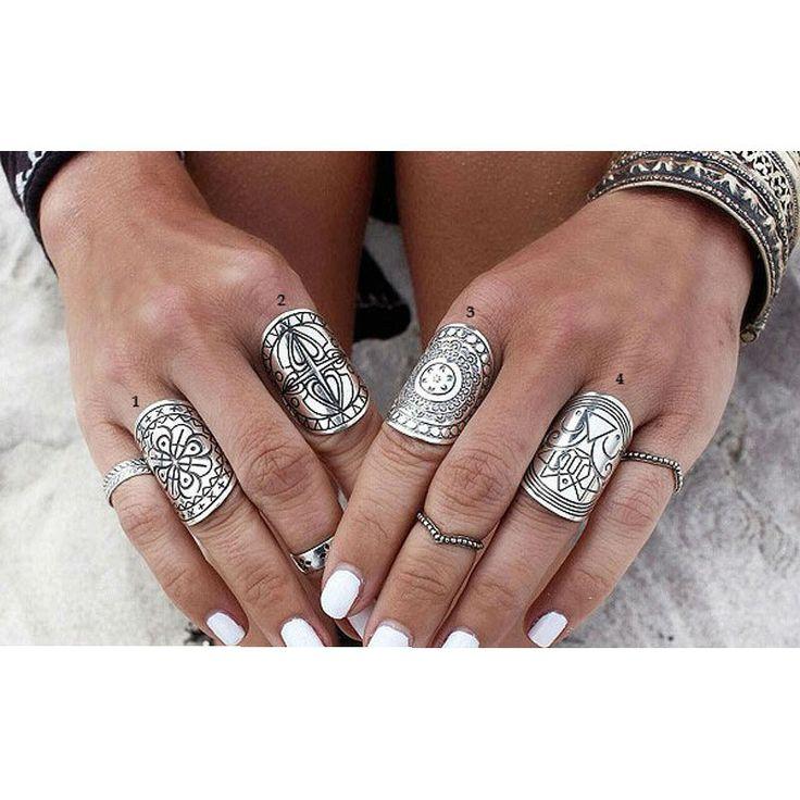 Tibetan Carved Ring Set Silver Symbolic - free shipping worldwide $5.96  #Rings #Tibetanrings #wildstyle