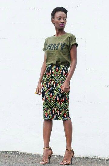 Olive khaki graphic tee shirt and pencil skirt