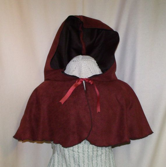 Brick Red Hooded Capelet Suede Costume Cape by RoyalHouseOfWhimsy, $48.00