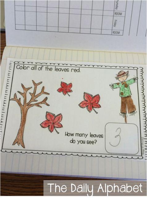 Calendar Journal For Kindergarten : Fall math journals for kindergarten themes schemes