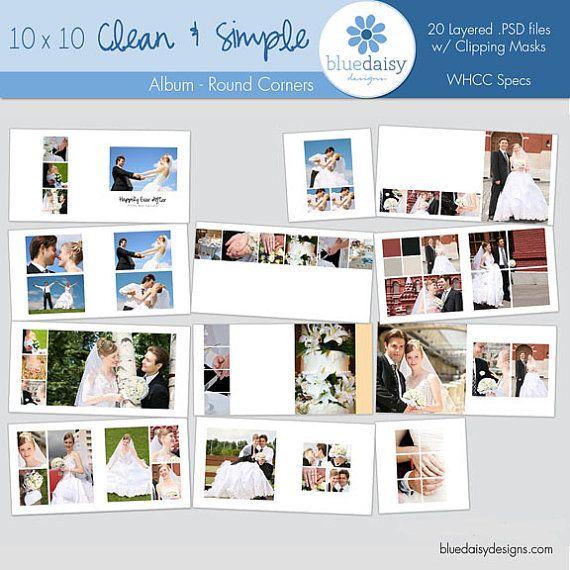 10x10 Contemporary Style Wedding Album ROUNDED Corners