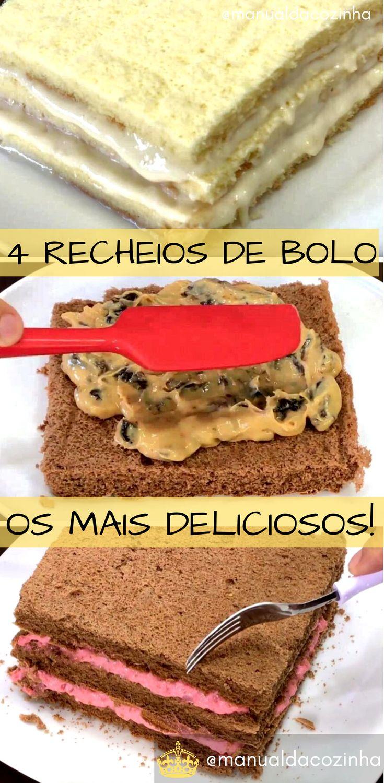 4 Receitas de Recheios para Bolos e Tortas, os mais gostosos e mais fáceis! #receita #bolo #recheio #comida #culinaria #doces #aniversario #manualdacozinha #aguanaboca