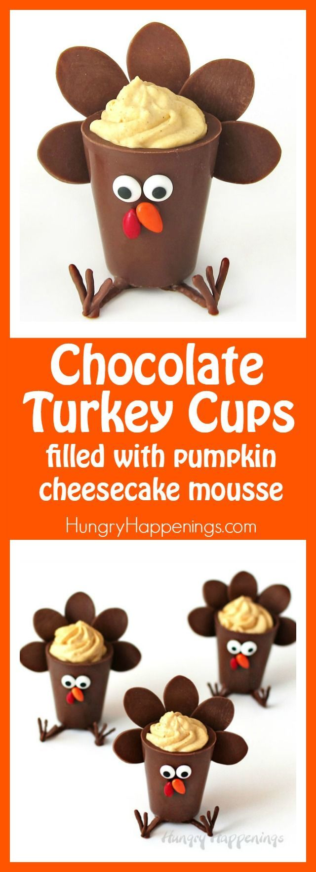 Surprise your party guests this Thanksgiving by serving these sweet little Chocolate Turkey Cups filled with Pumpkin Cheesecake Mousse. Watch the video tutorial to see how to make and decorate these holiday treats.