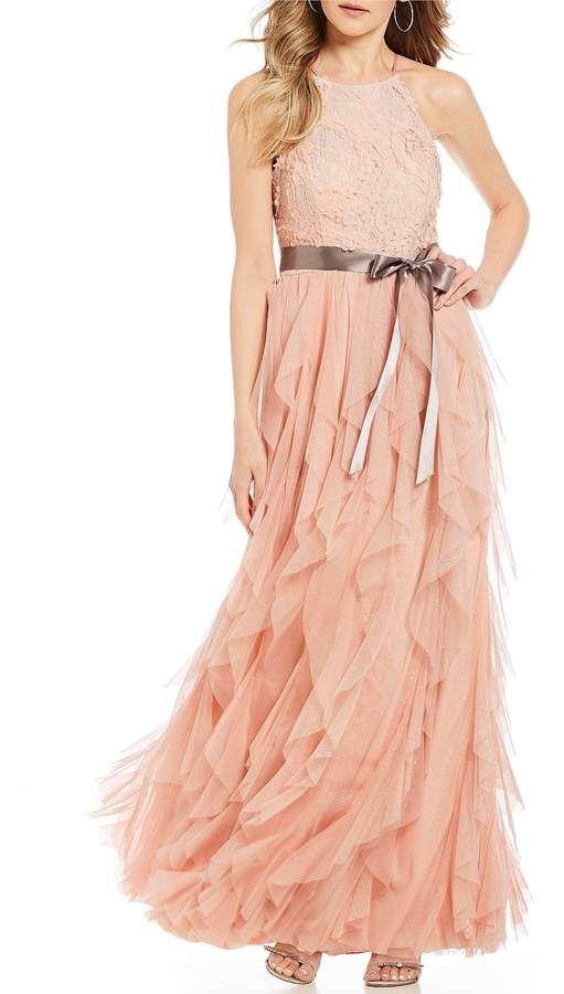 3314a61ba8c Teeze Me Lace-Bodice Corkscrew Ball Gown