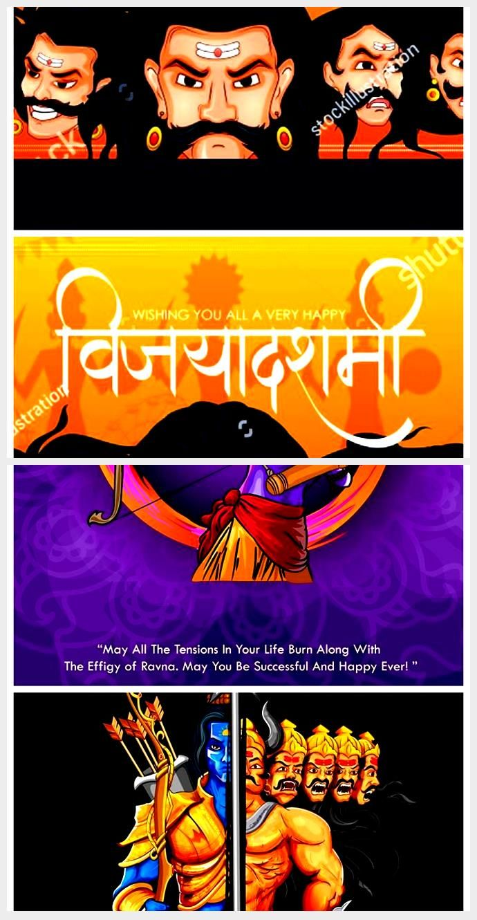 Ten Headed Ravana With Hindi Text Meaning Happy Dussehra Festival Background In Information 2020
