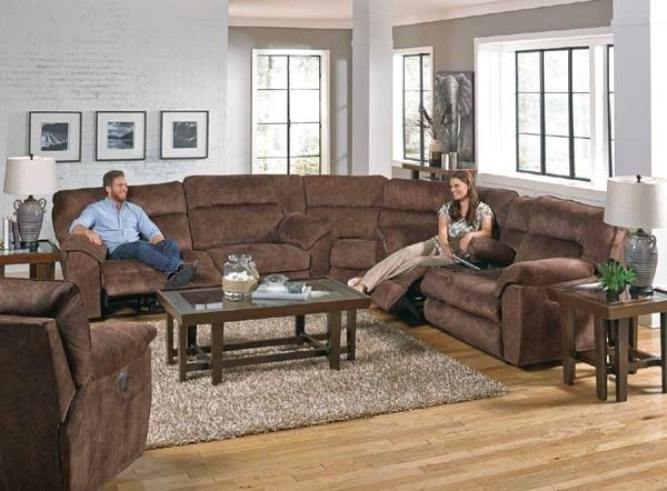 Catnapper - Nichols Power Reclining Sectional Sofa Set in Chestnut - 61671-SEC-CHESTNUT