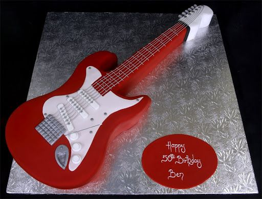 002383 Guitar Hand Cut Novelty Cake Jpg Celebration Specialists  cakepins.com