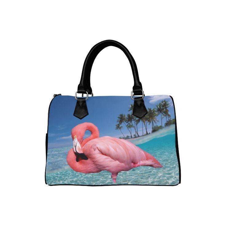 Flamingo and Palms Boston Handbag. FREE Shipping. #artsadd #bags #flamingos