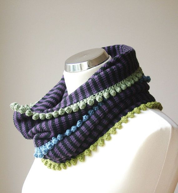 Purple infinity scarf / cowl neck with colorful, crocheted details  / autumn - winter - spring scarf by rukkola on Etsy.