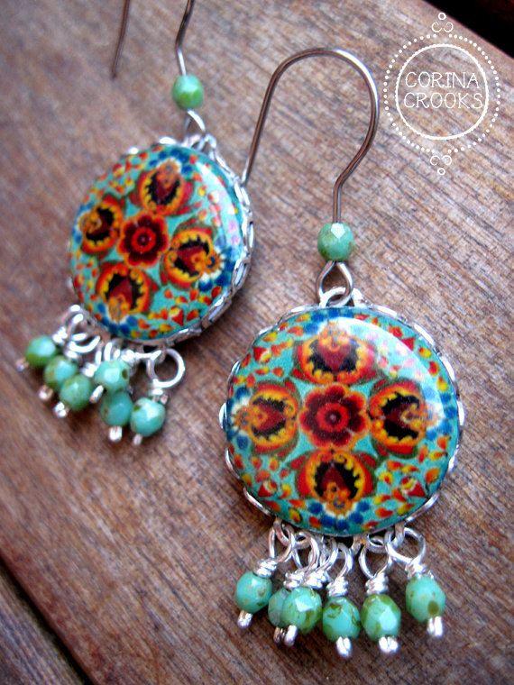 Bohemian Jewelry Earrings, Unique earrings, Mexican jewelry, Statement earrings, Artisan jewelry, turquoise, dangle earrings, Handmade
