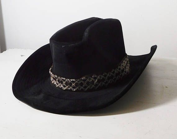 Black Cowboy Hat Vintage Wide Braided Brown Woven Trim Band