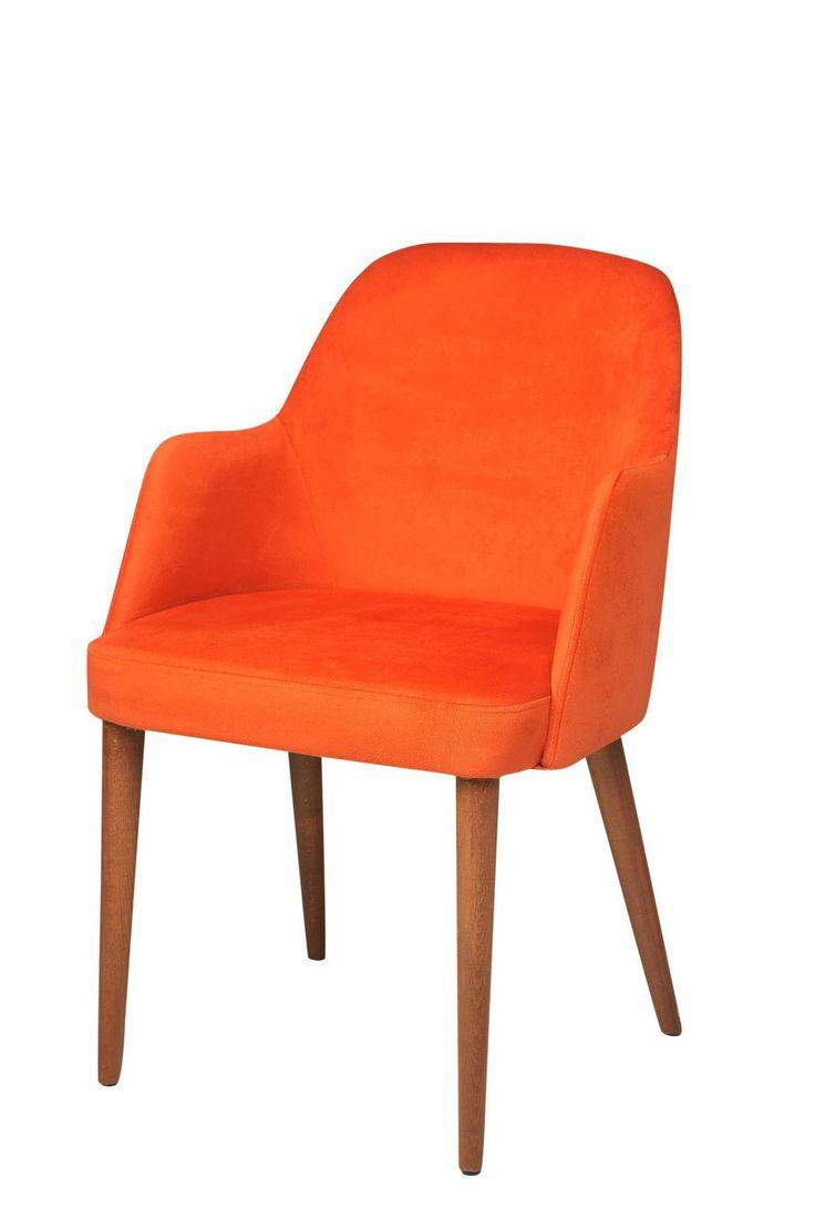 """Arm Chair Suede Orange 21""""X24""""X33"""""""