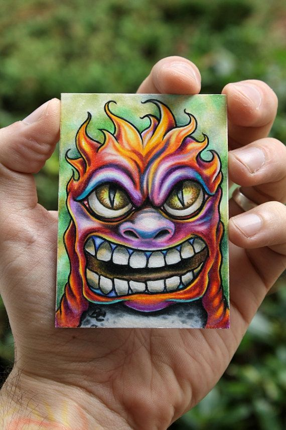 Mini Monster ACEO colorful original art creature by bryancollins, $45.00