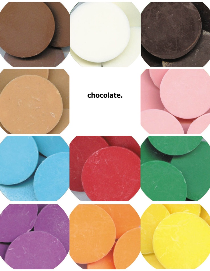 So many pretty colors of chocolate! Clasen Quality Coating- doesn't need tempering!