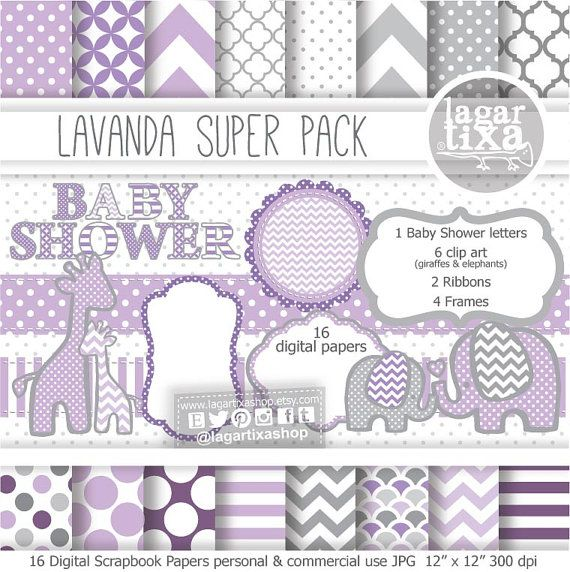 Gray Lavender Baby Purple Digital Paper background textures patterns giraffe elephant chevron polka dots frames grey invitations baby shower