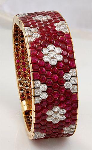H & D Diamonds is your direct contact to diamond trade suppliers, a Bond Street jeweller and a team of designers.www.handddiamonds...Tel: 0845 600 5557  - VAN CLEEF & ARPELS Hexagon Ruby & Diamond Bracelet