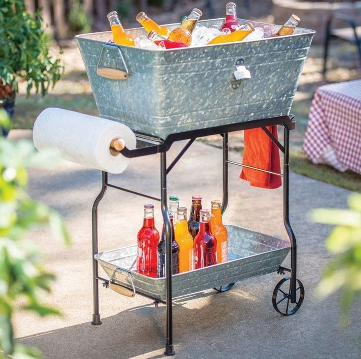 Standing Ice Chest Galvanized Beverage Serving Cart Rolling Drink Tub Butler #RollingIceTubCart