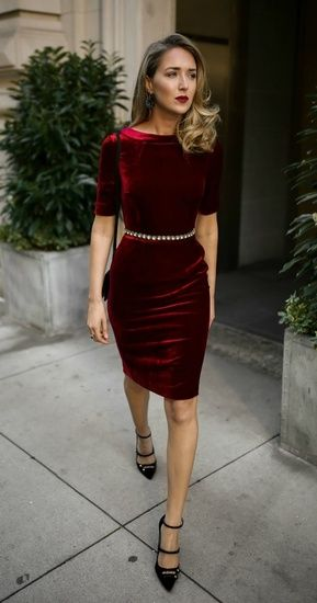 This red velvet beauty from @boden_clothing is the PERFECT holiday dress!   •  30 Dresses in 30 Days is live NOW on memorandum.com! //  Red velvet sheath dress, embellished black waist belt, black strappy Mary Jane pumps, black leather cross body bag, statement earrings and a dark red lip   @maryorton #ShopStyle #shopthelook #todaysdetails #ootd